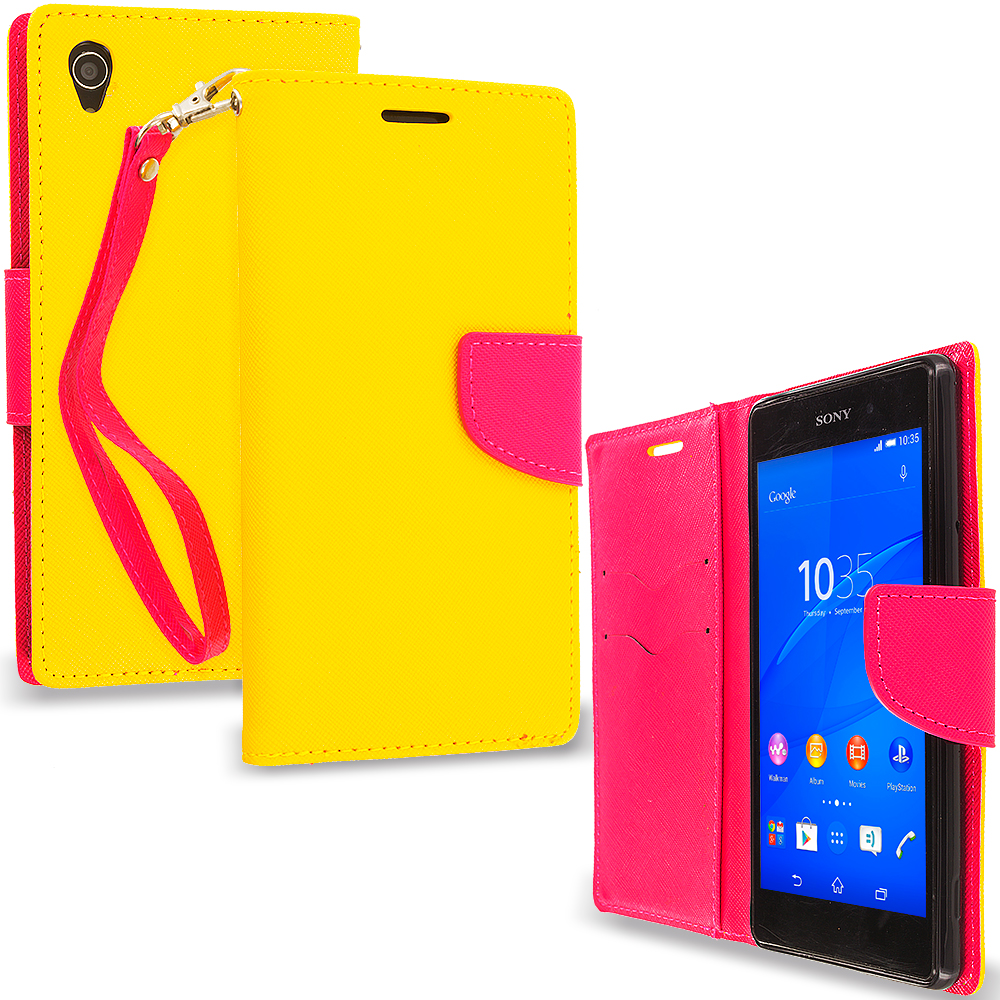 Sony Xperia Z3 Yellow / Hot Pink Leather Flip Wallet Pouch TPU Case Cover with ID Card Slots