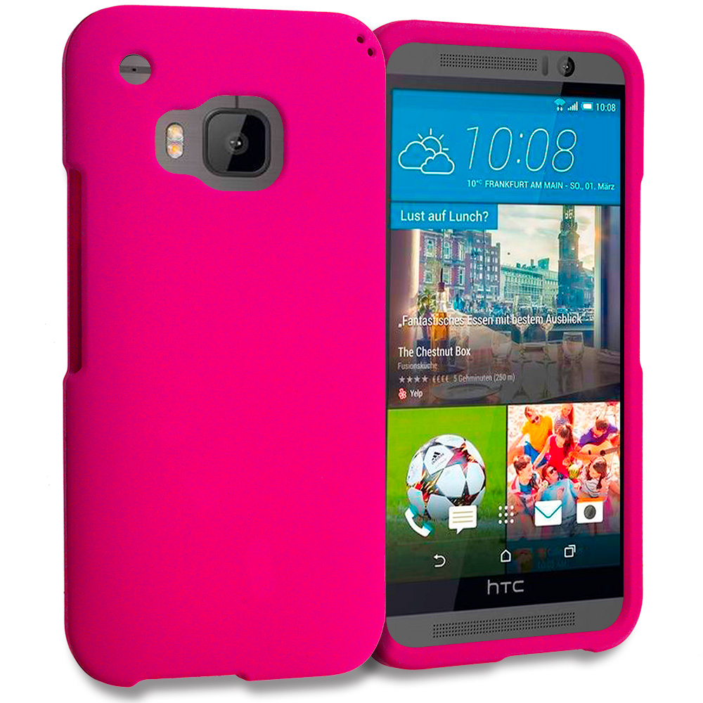 HTC One M9 Hot Pink Hard Rubberized Case Cover
