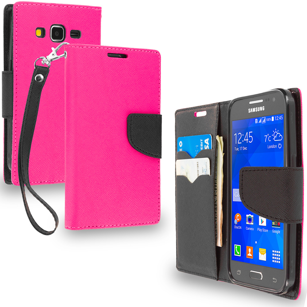 Samsung Galaxy Prevail LTE Core Prime G360P Hot Pink / Black Leather Flip Wallet Pouch TPU Case Cover with ID Card Slots