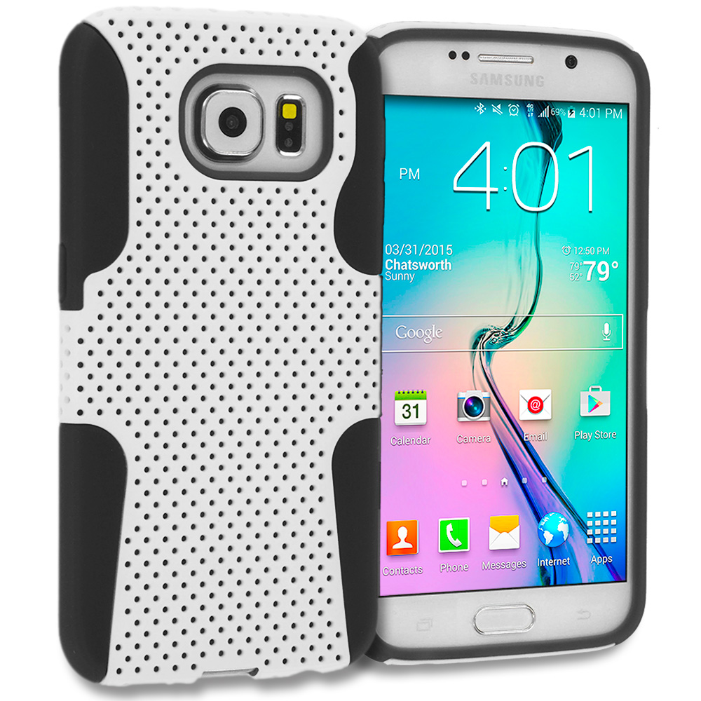 Samsung Galaxy S6 4 in 1 Combo Bundle Pack - Hybrid Mesh Hard/Soft Case Cover : Color Black / White