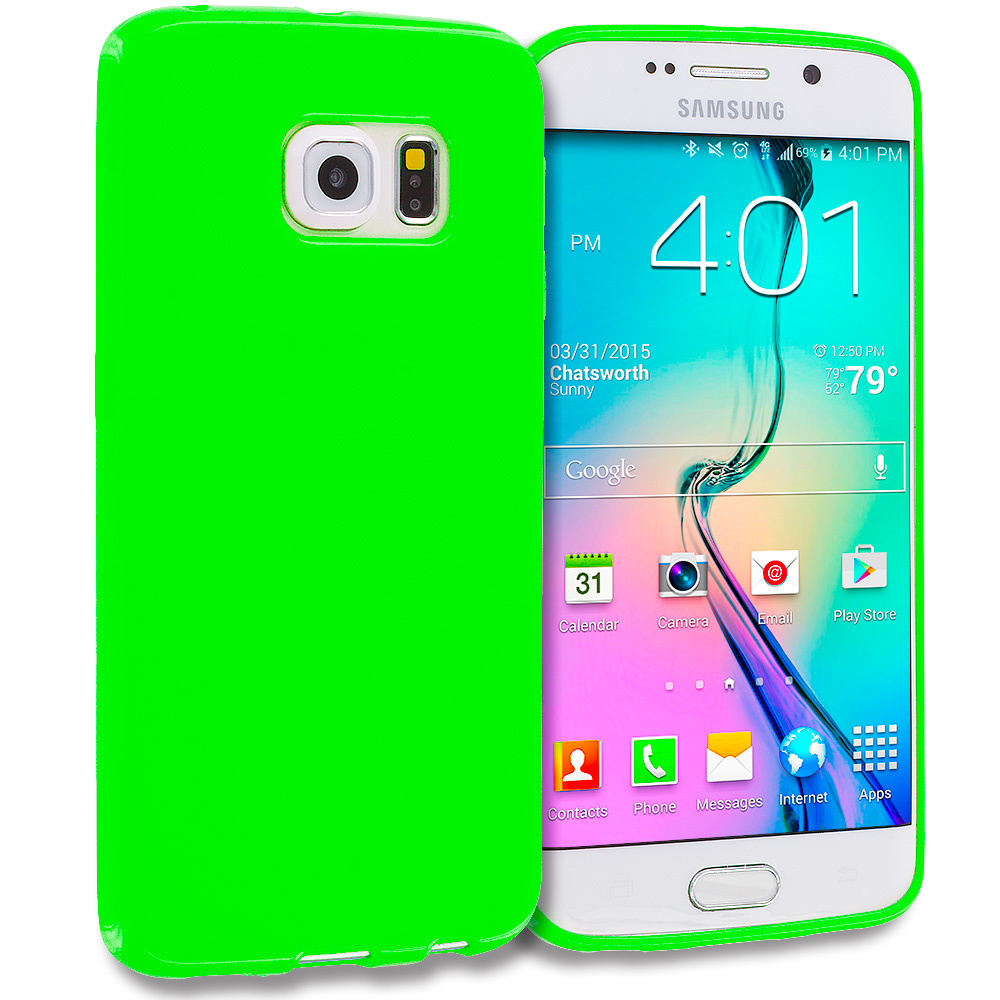 Samsung Galaxy S6 Edge Neon Green Solid TPU Rubber Skin Case Cover