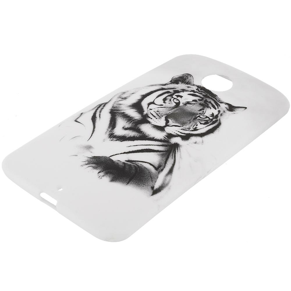 Motorola Google Nexus 6 White Tiger TPU Design Soft Rubber Case Cover