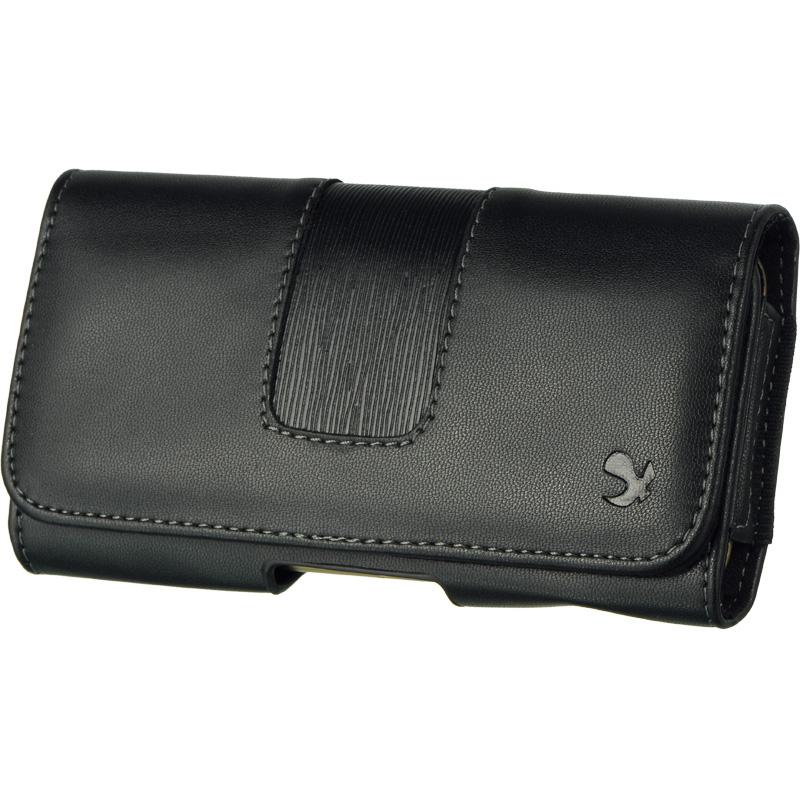 Motorola Moto G / X Black Premium Stitched Belt Clip Holster Flip Pouch