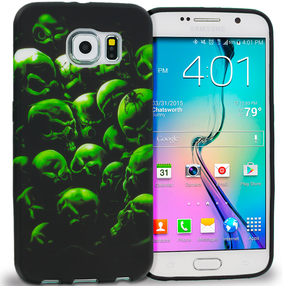 Samsung Galaxy S6 Edge Green Skulls TPU Design Soft Rubber Case Cover