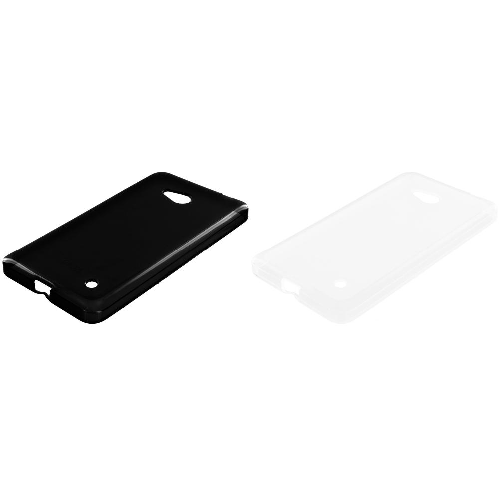 Microsoft Lumia 640 2 in 1 Combo Bundle Pack - Black Clear TPU Rubber Skin Case Cover