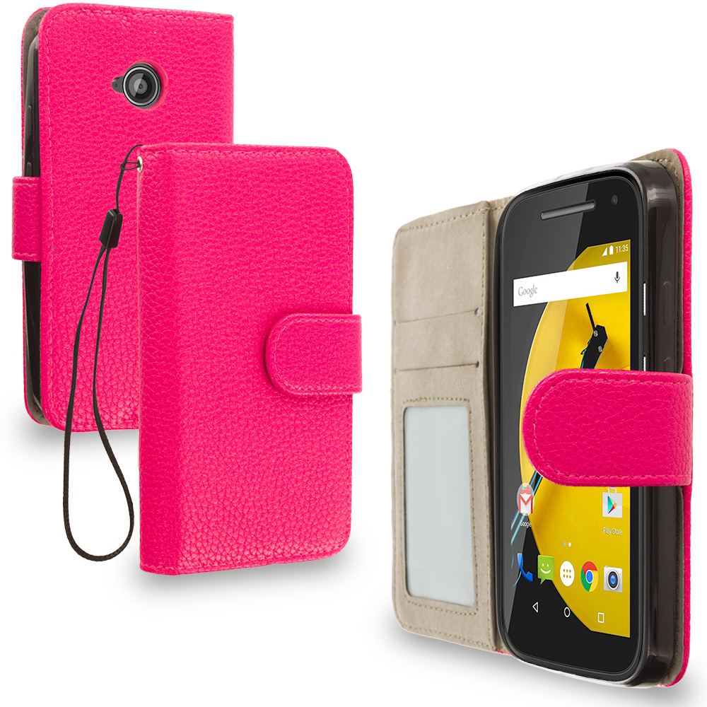 Motorola Moto E LTE 2nd Generation Hot Pink Leather Wallet Pouch Case Cover with Slots