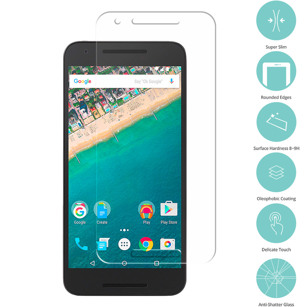 LG Google Nexus 5X Clear Tempered Glass Film Screen Protector Clear