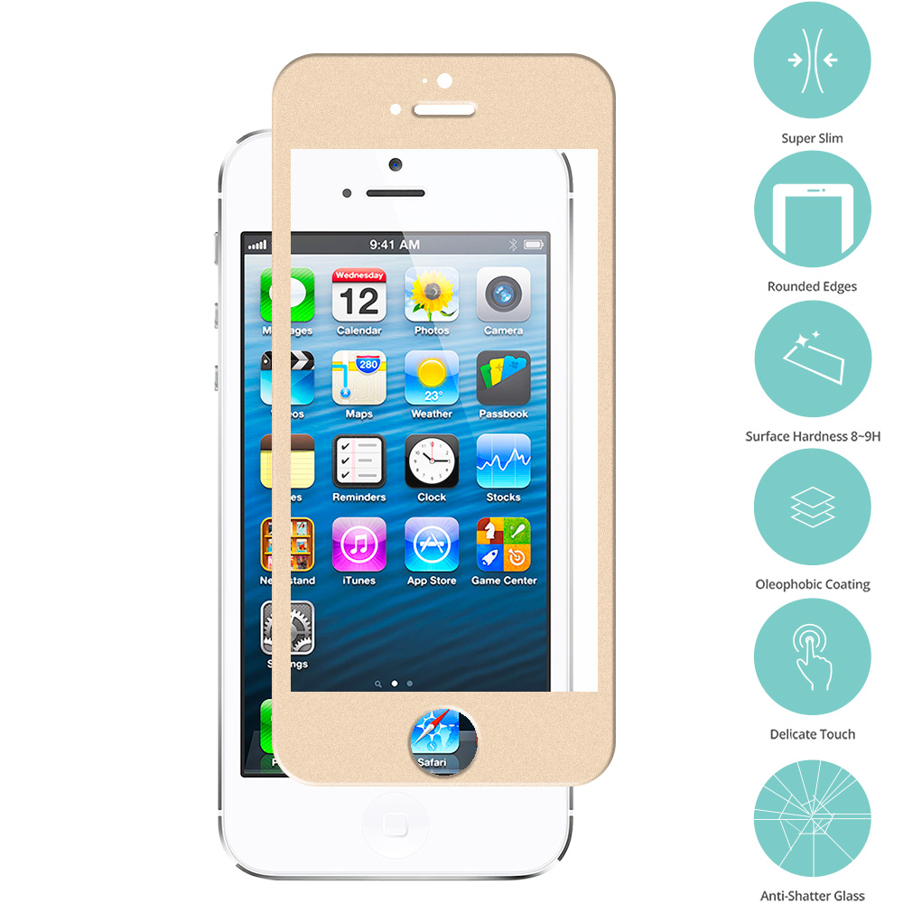 Apple iPhone 5 / 5S / 5C Gold Tempered Glass Film Screen Protector Colored