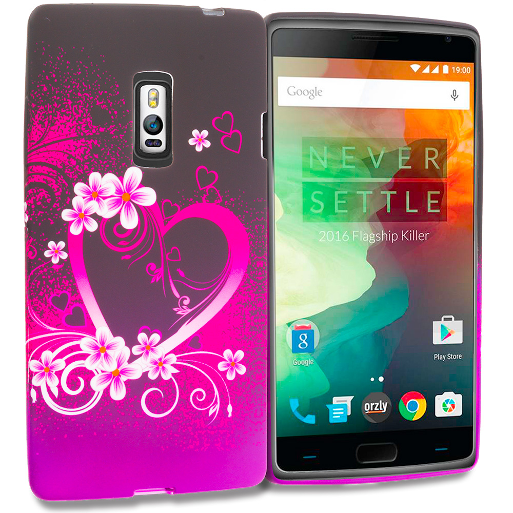 OnePlus 2 Two Purple Love TPU Design Soft Rubber Case Cover