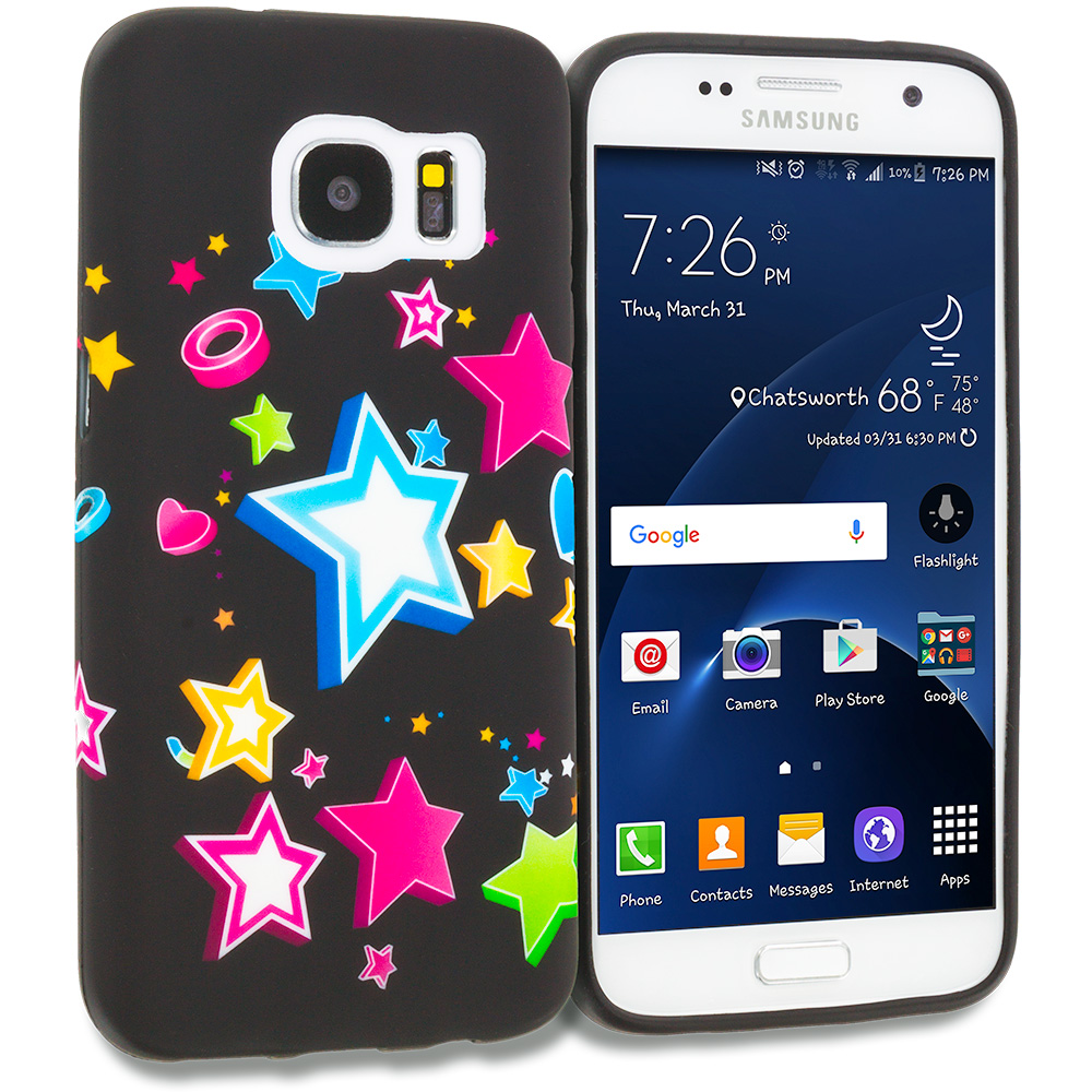 Samsung Galaxy S7 Combo Pack : Colorful Love on Black TPU Design Soft Rubber Case Cover : Color Colorful Shooting Star