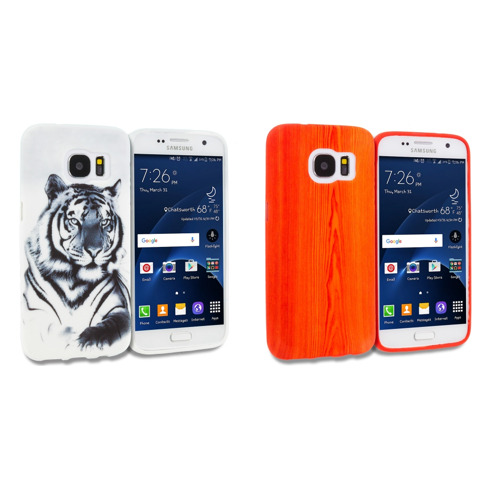 Samsung Galaxy S7 Combo Pack : Tiger TPU Design Soft Rubber Case Cover