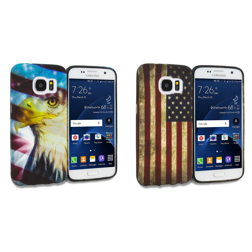 Samsung Galaxy S7 Combo Pack : USA Eagle TPU Design Soft Rubber Case Cover