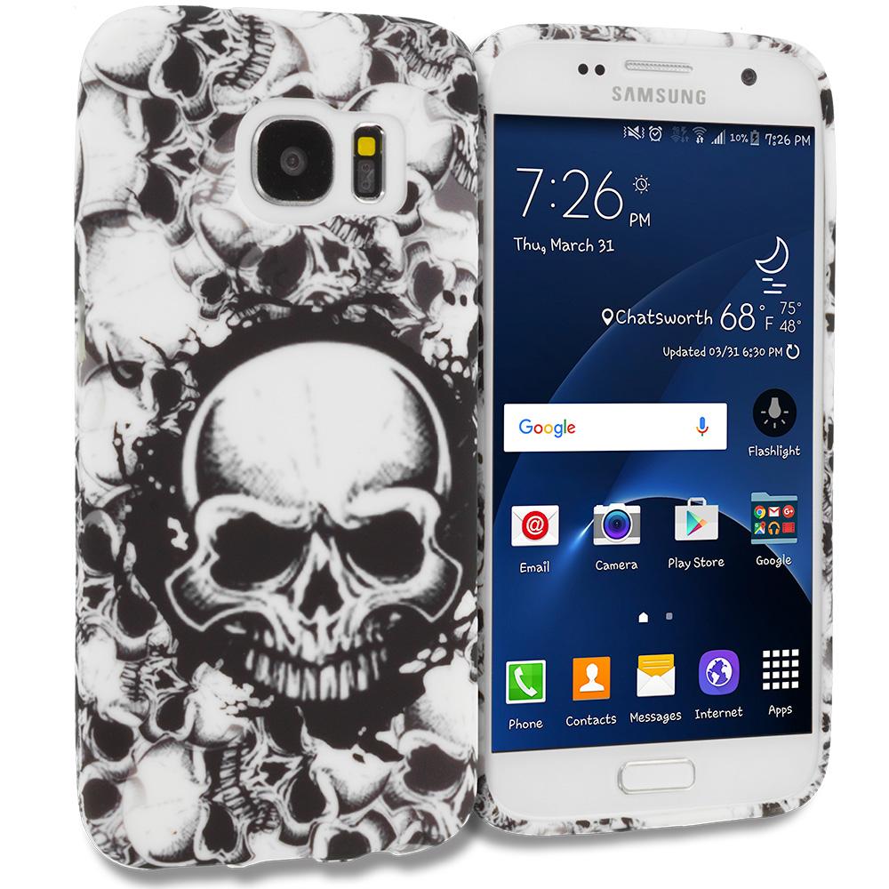 Samsung Galaxy S7 Edge Black White Skulls TPU Design Soft Rubber Case Cover