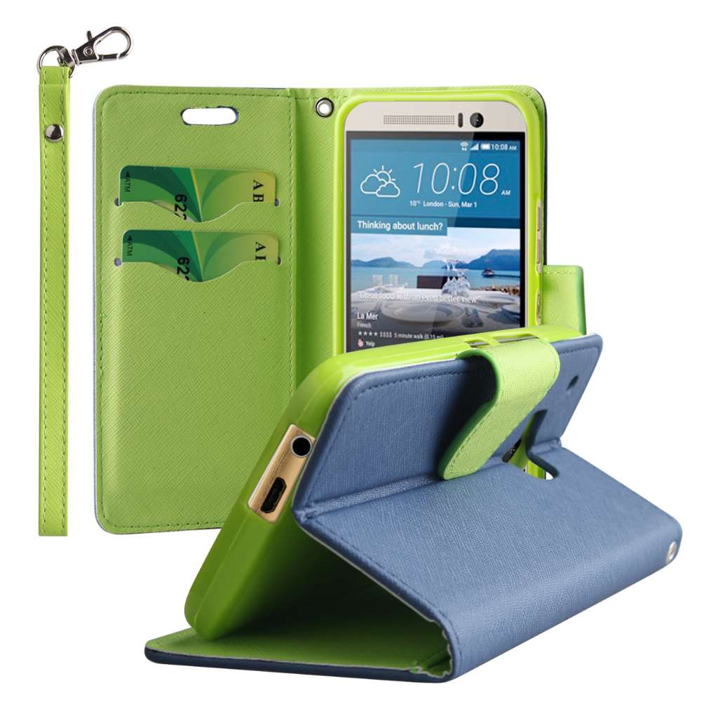 HTC One M9 - Blue / Neon Green MPERO FLEX FLIP 2 Wallet Stand Case Cover