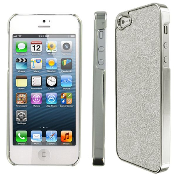 Apple iPhone 5 MPERO Silver Sparkling Glitter Slim-Fit Glam Case Cover