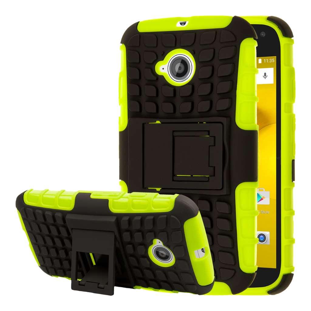 Motorola Moto E 2nd Generation - Neon Green MPERO IMPACT SR - Kickstand Case