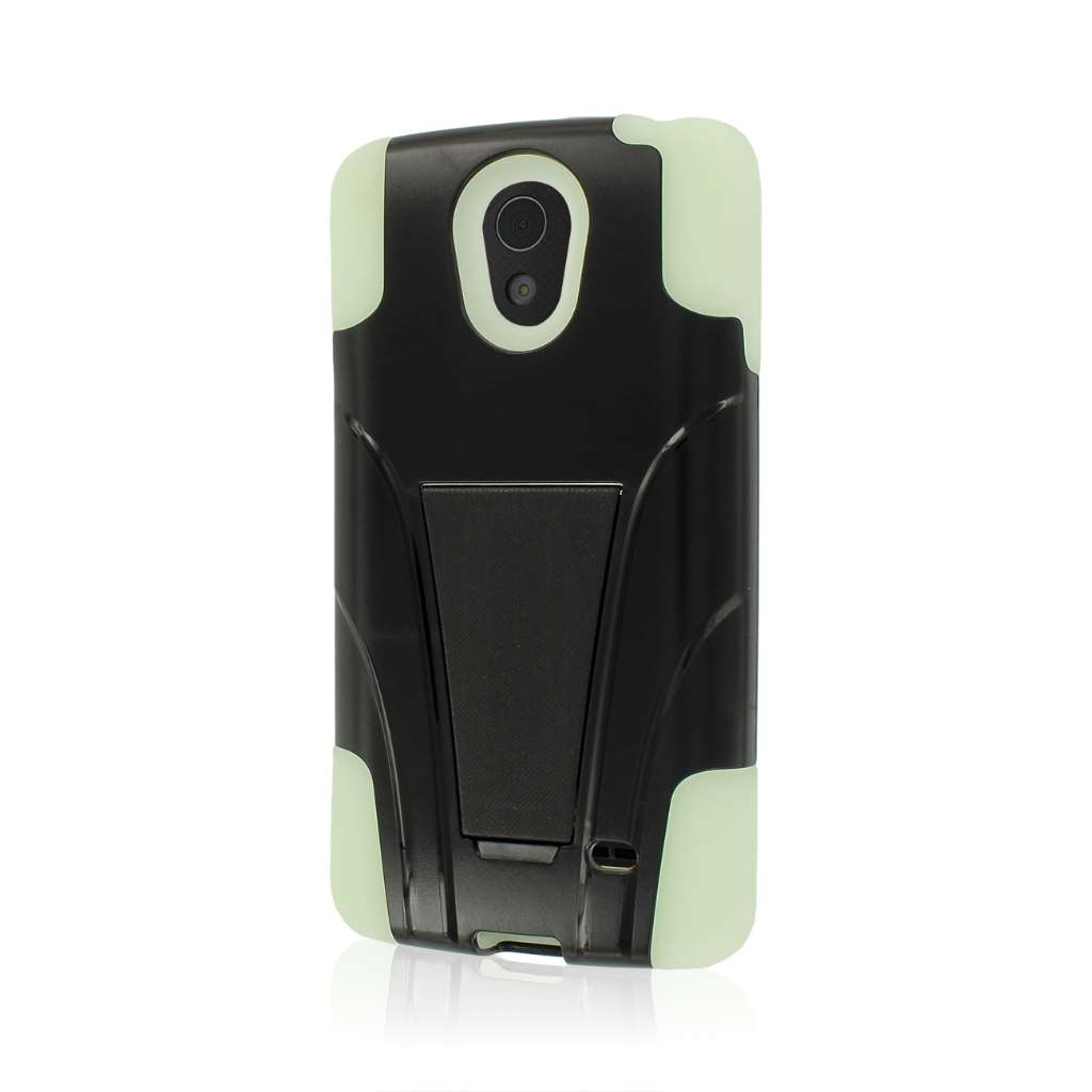 LG Lucid 3 - Glow In The Dark Green MPERO IMPACT X - Kickstand Case Cover