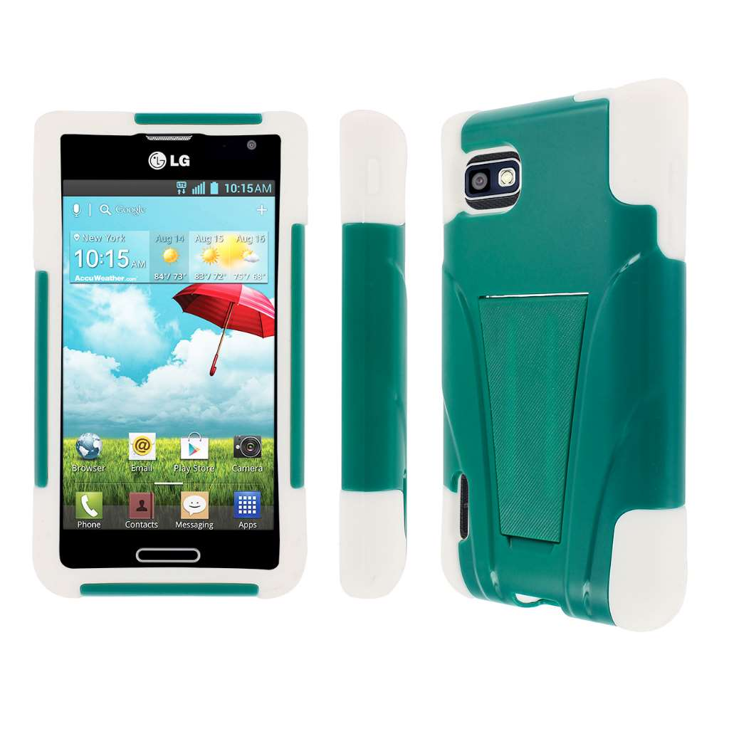 T-Mobile LG Optimus F3-- TEAL GREEN MPERO IMPACT X - Kickstand Case Cover