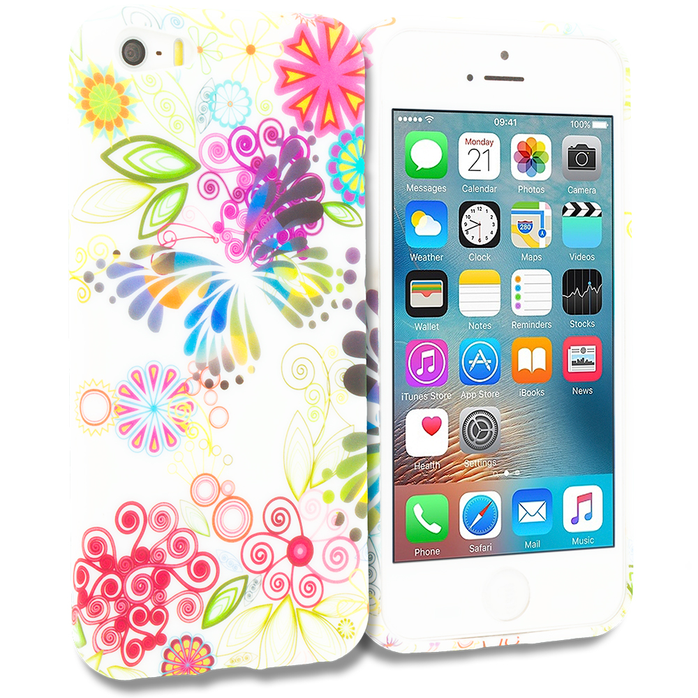 Apple iPhone 5/5S/SE Flower Rainbow Colorful TPU Design Soft Rubber Case Cover