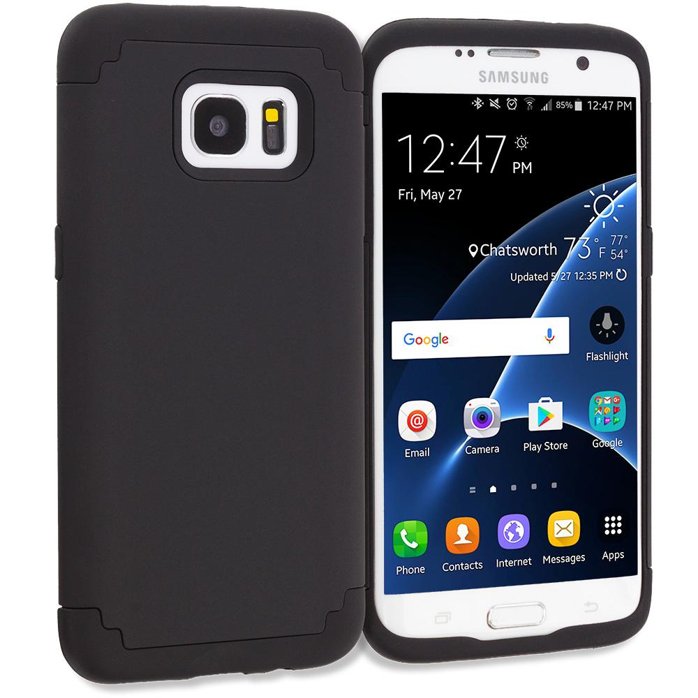 Samsung Galaxy S7 Edge Black / Black Hybrid Slim Hard Soft Rubber Impact Protector Case Cover