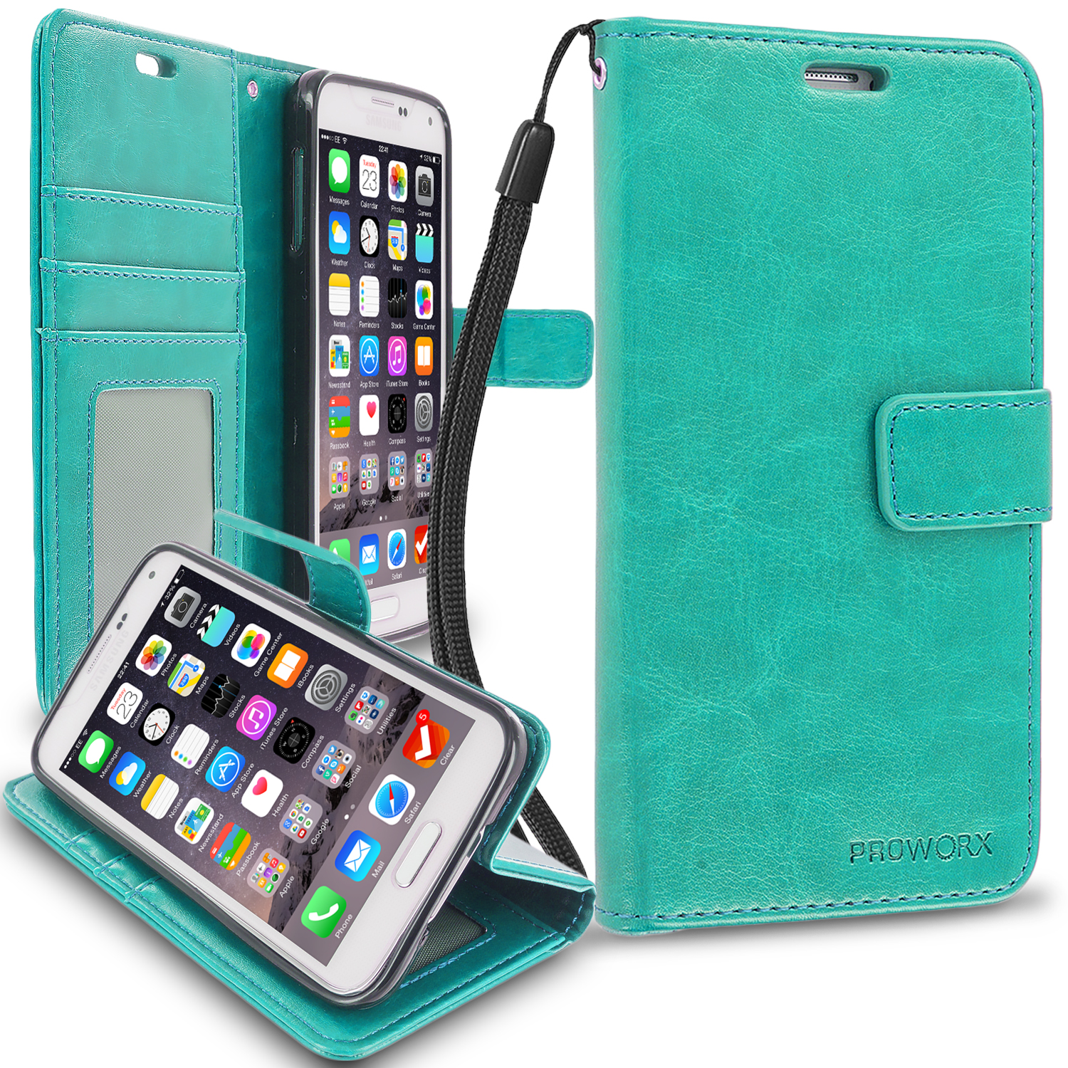 Samsung Galaxy S5 Mint Green ProWorx Wallet Case Luxury PU Leather Case Cover With Card Slots & Stand