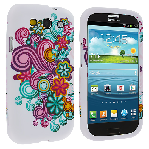 Samsung Galaxy S3 Flower Ribbon Hard Rubberized Design Case Cover