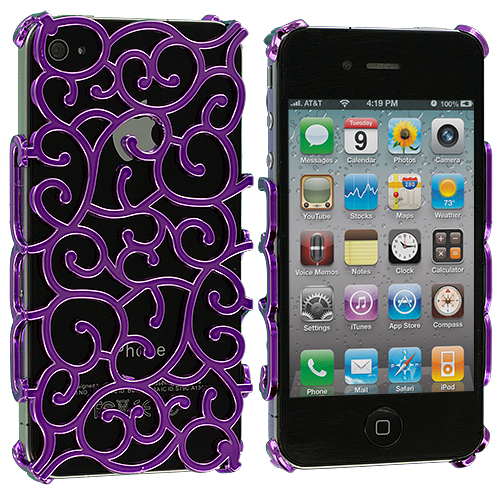 Apple iPhone 4 / 4S 2 in 1 Combo Bundle Pack - Purple Teal Floral Crystal Hard Back Cover Case : Color Purple Floral