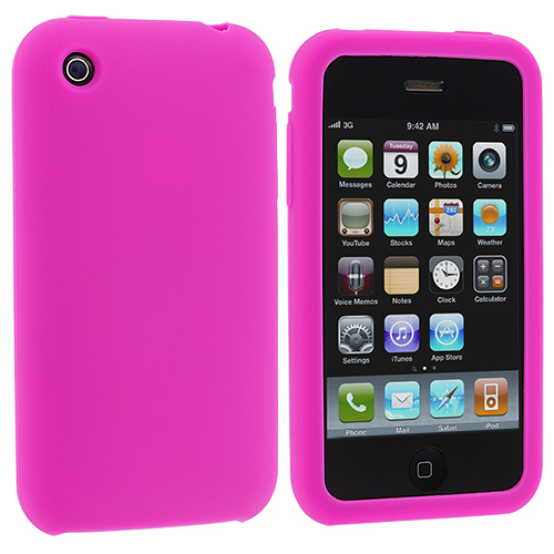 Apple iPhone 3G / 3GS Hot Pink Silicone Soft Skin Case Cover
