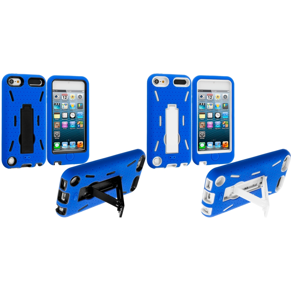 Apple iPod Touch 5th 6th Generation 2 in 1 Combo Bundle Pack - Blue Hybrid Heavy Duty Hard/Soft Case Cover with Stand