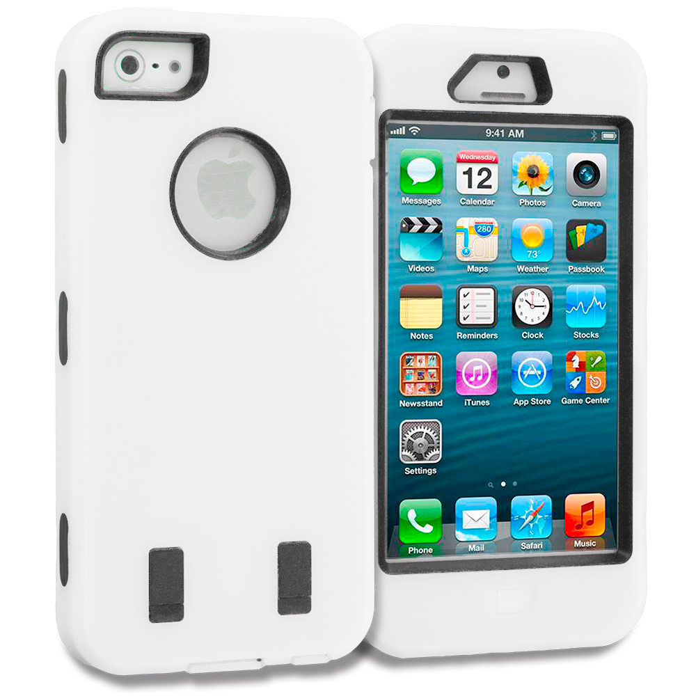 Apple iPhone 5/5S/SE White Deluxe Hybrid Deluxe Hard/Soft Case Cover