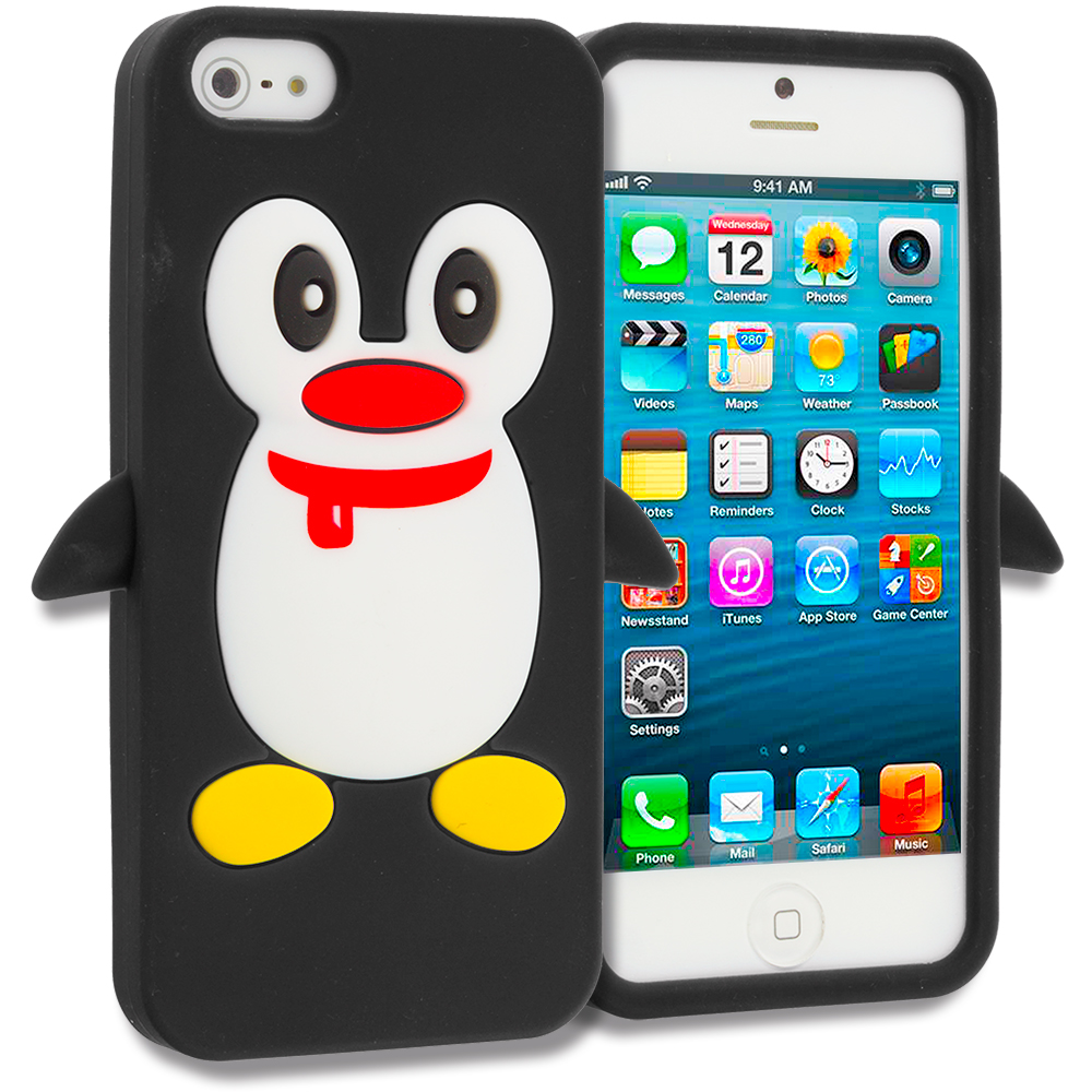Apple iPhone 5/5S/SE Black Penguin Silicone Design Soft Skin Case Cover