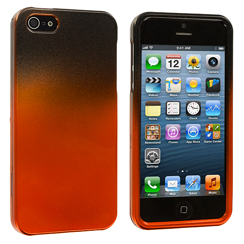 Apple iPhone 5/5S/SE Black / Orange Two-Tone Hard Case Cover