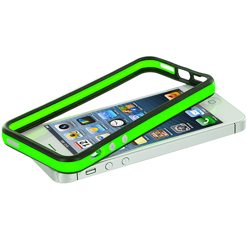 Apple iPhone 5/5S/SE Combo Pack : Black / Neon Green TPU Bumper with Metal Buttons : Color Black / Neon Green