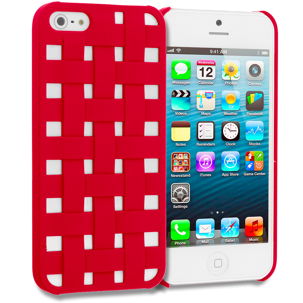 Apple iPhone 5/5S/SE Red Handwoven Hard Rubberized Back Cover Case