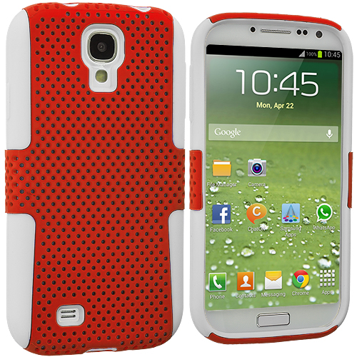 Samsung Galaxy S4 White / Orange Hybrid Mesh Hard/Soft Case Cover