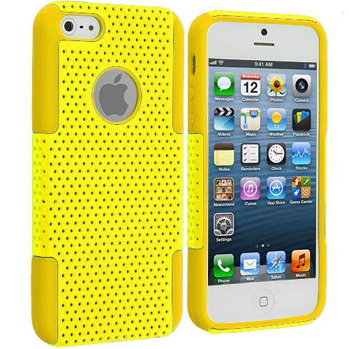 Apple iPhone 5/5S/SE Combo Pack : Orange / Orange Hybrid Mesh Hard/Soft Case Cover : Color Yellow / Yellow