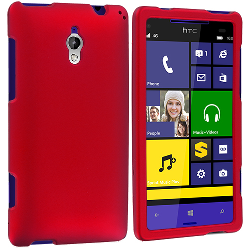 HTC 8XT Red Hard Rubberized Case Cover