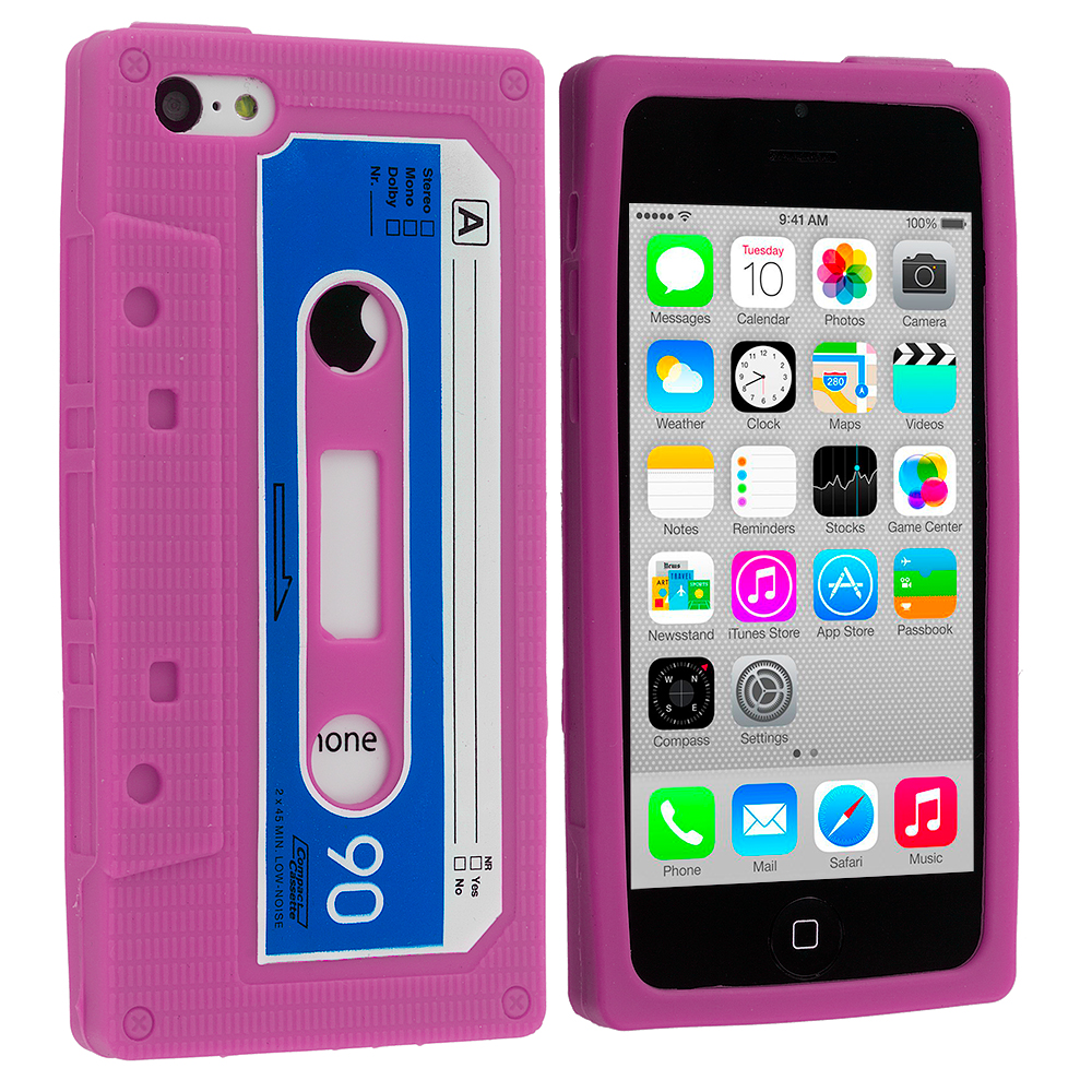Apple iPhone 5C Hot Pink Cassette Silicone Soft Skin Case Cover