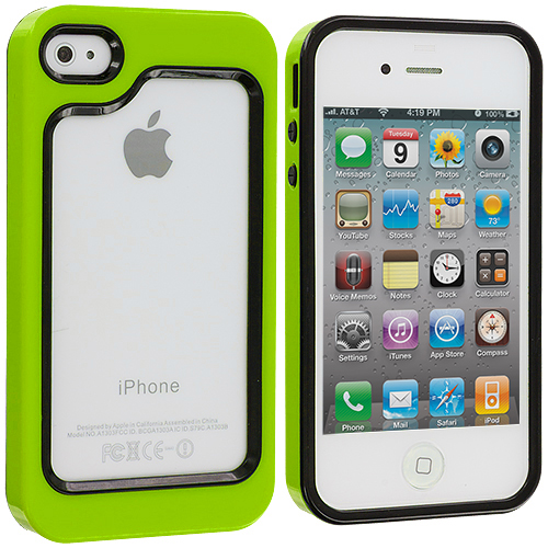 Apple iPhone 4 / 4S 2 in 1 Combo Bundle Pack - Green / Hot Pink Hybrid TPU Bumper Case Cover : Color Black / Neon Green
