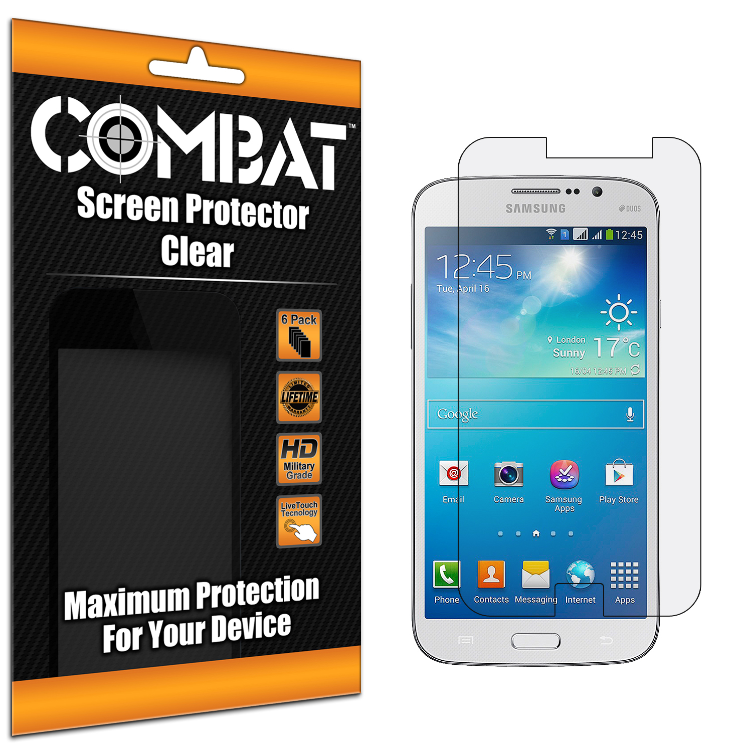 Samsung Galaxy Mega 5.8 Combat 6 Pack HD Clear Screen Protector