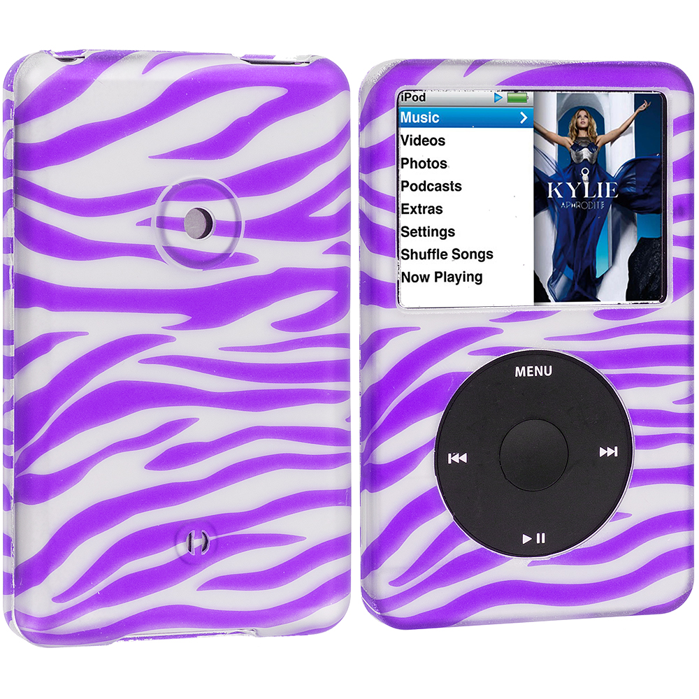Apple iPod Classic Purple Zebra Hard Rubberized Design Case Cover
