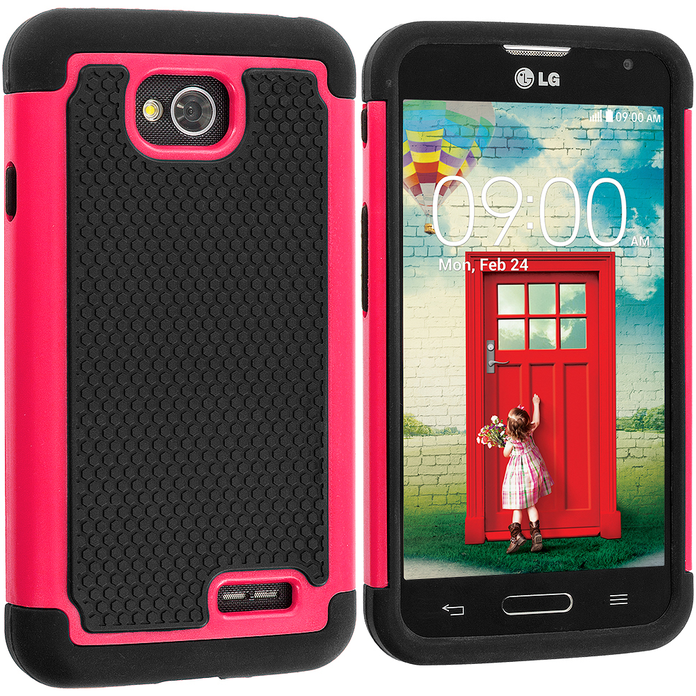 LG Optimus L90 Black / Hot Pink Hybrid Rugged Hard/Soft Case Cover
