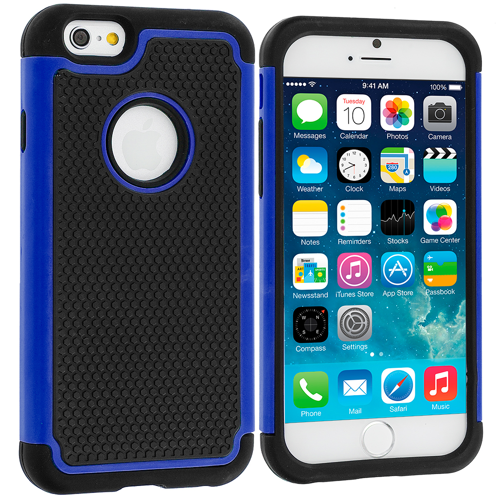 Apple iPhone 6 6S (4.7) Black / Blue Hybrid Rugged Hard/Soft Case Cover