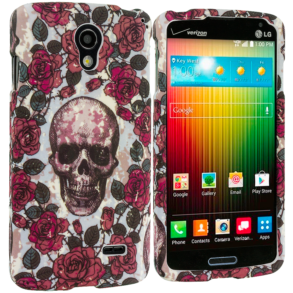 LG Lucid 3 VS876 Gorgeous Skull Hard Rubberized Design Case Cover