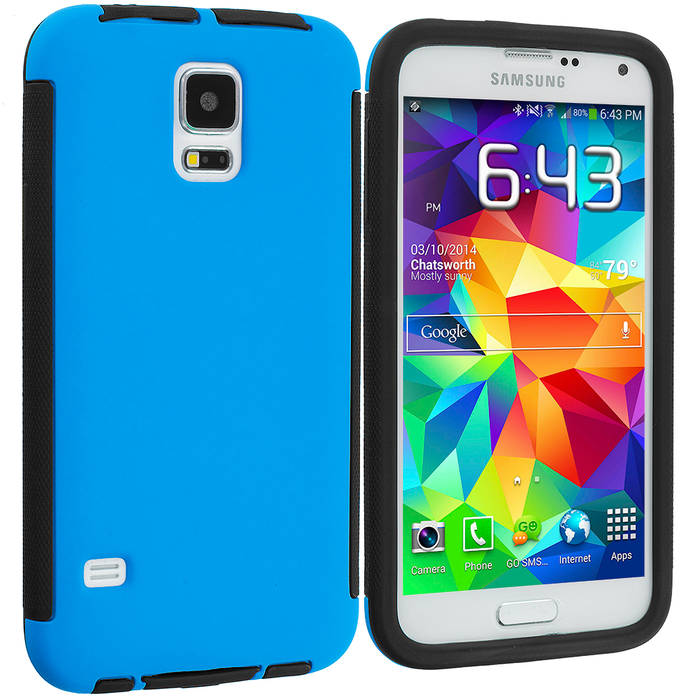 Samsung Galaxy S5 Black / Blue Hybrid Hard TPU Shockproof Case Cover With Built in Screen Protector