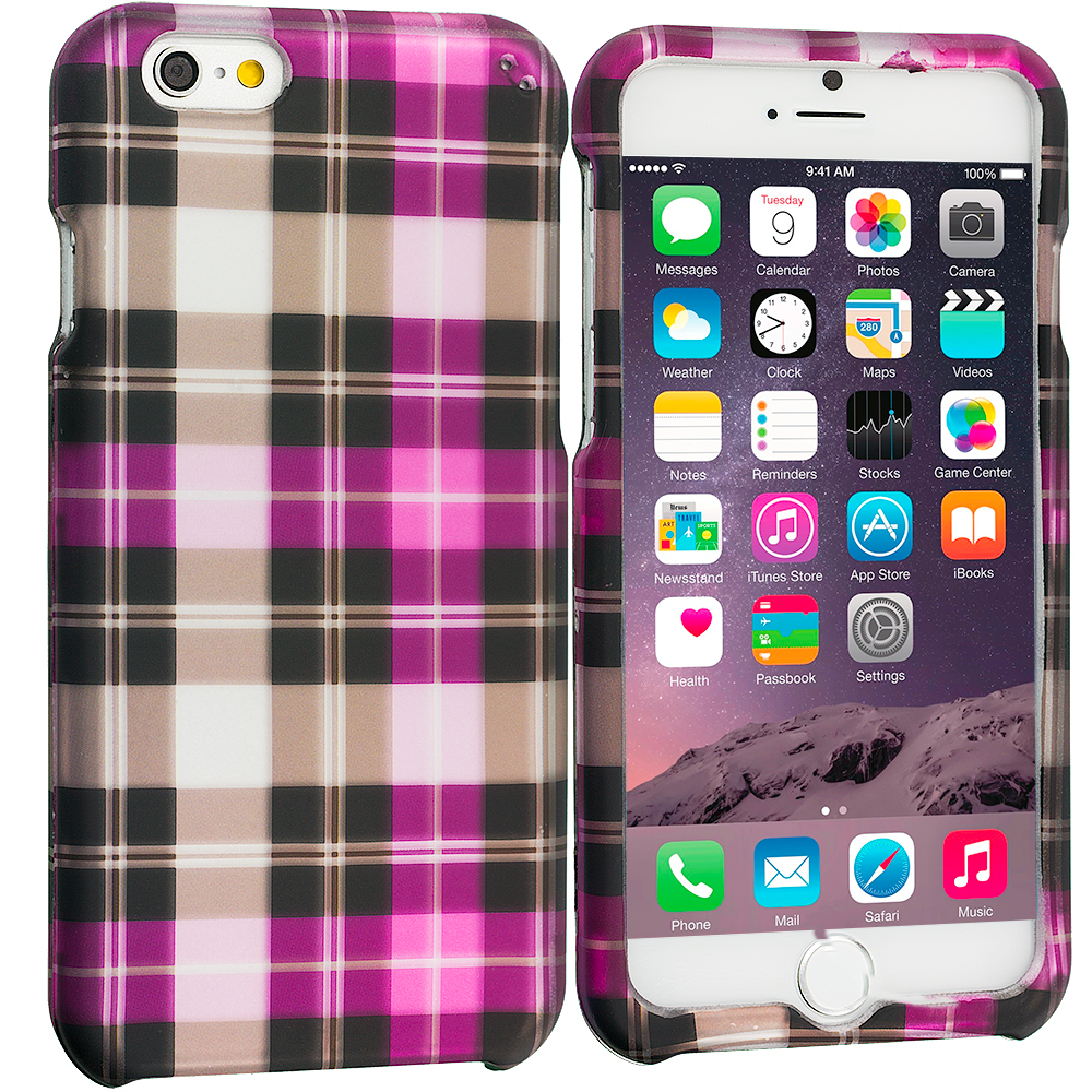 Apple iPhone 6 Plus 6S Plus (5.5) Hot Pink Checkered 2D Hard Rubberized Design Case Cover