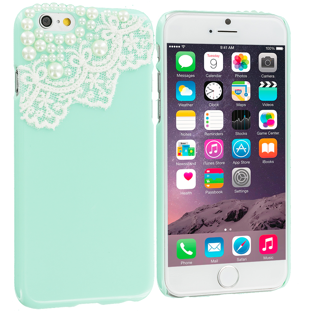 Apple iPhone 6 6S (4.7) Mint Green Pearl Design Crystal Hard Case Cover
