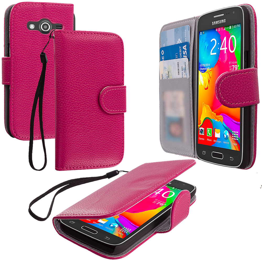 Samsung Galaxy Avant G386 Hot Pink Leather Wallet Pouch Case Cover with Slots