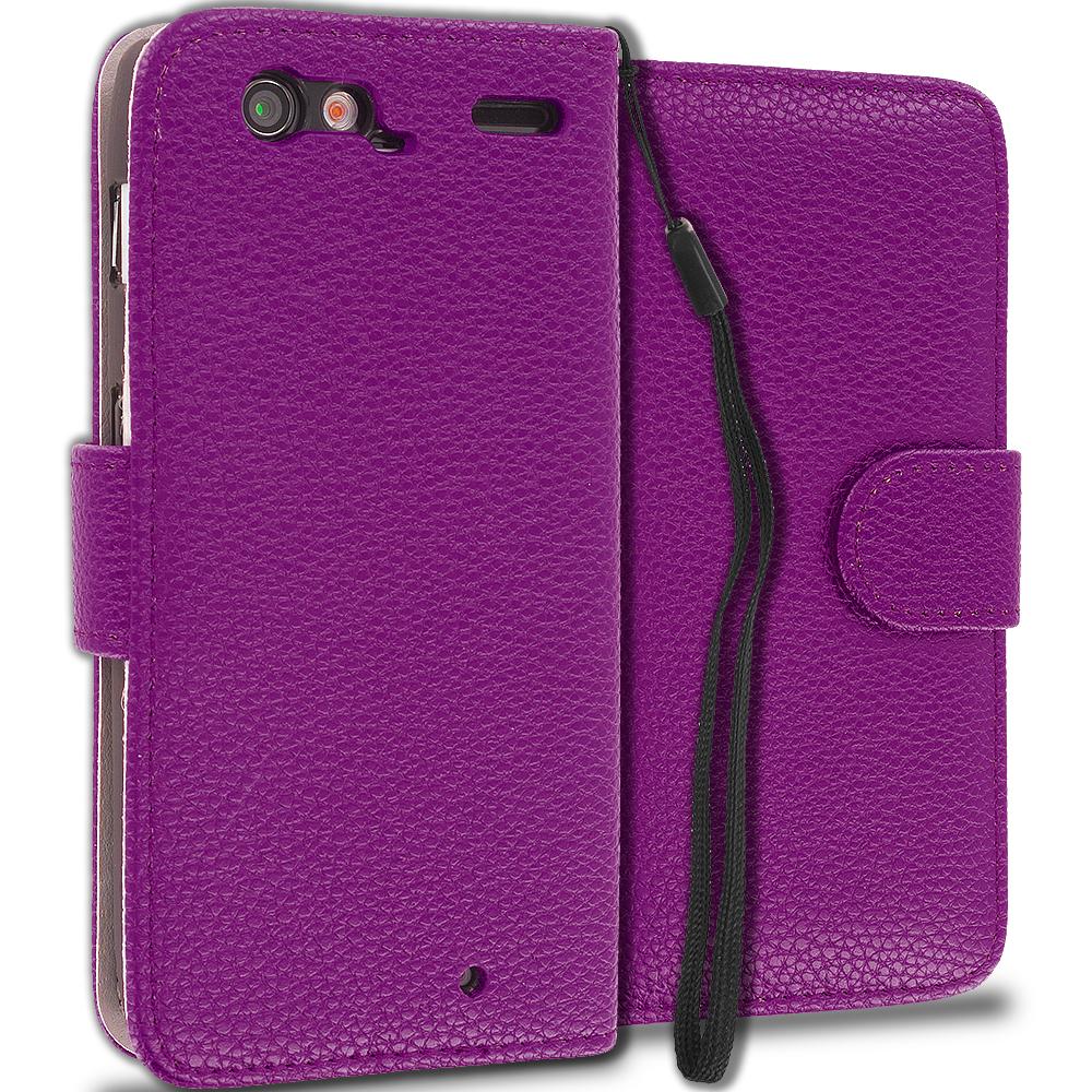 Motorola Droid Razr XT912 Purple Leather Wallet Pouch Case Cover with Slots