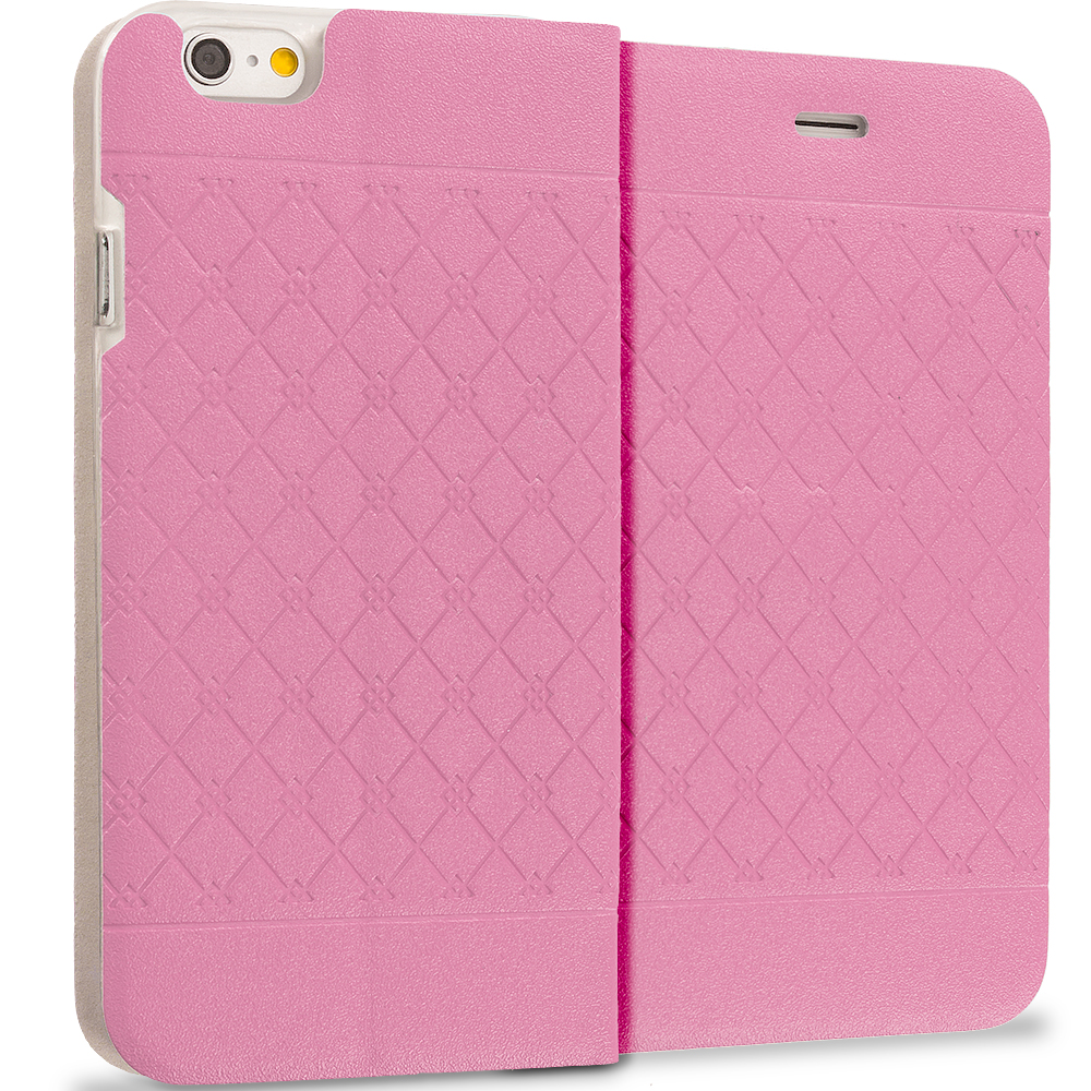 Apple iPhone 6 6S (4.7) Light Pink Slim Wallet Plaid Luxury Design Flip Case Cover